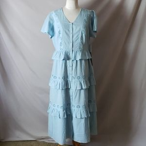 New Rachel Parcell Lace Eyelet Button Down Dress